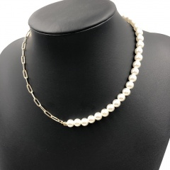 Charm Women's Pearl Gold Hollow Chain Pendant Necklace Jewelry Gift Chain + Pearl