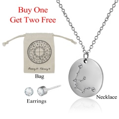 12 Constellations Pendant Necklace Stainless Steel Choker Zodiac Jewelry Set Aquarius水瓶座