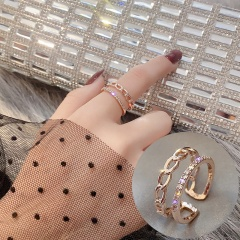 Open Adjustable Rhinestone Ring J006 Rose gold