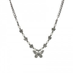 Titanium pearl butterfly chain necklace Bowknot