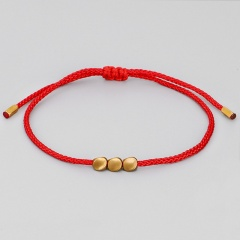 3 shaped copper beads hand-woven adjustable bracelet Red