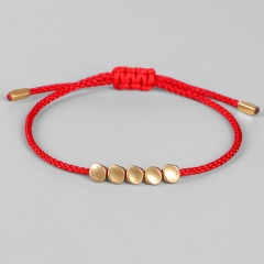Shaped copper beads hand-woven adjustable bracelet Red