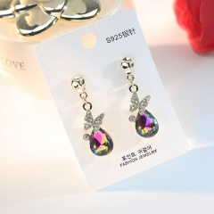 Colored crystal rhinestone stud earrings The butterfly droplets