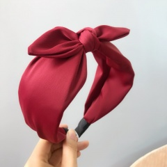 6 Colors Small Bowknot wide Headband Hair Accessories For Women's Fashion Jewelry Gift Red wine