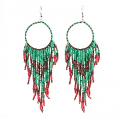 Bohemian Ethnic Style Handmade Woven Ear Hook Earrings Blue