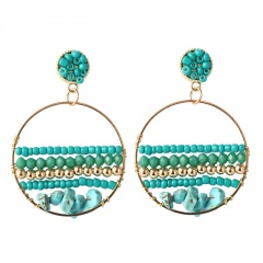 Natural Stone Bohemian Ethnic Style Hand-Woven Earrings Green