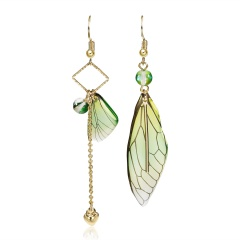 Long Asymmetrical Cicada Wings Butterfly Simulation Earrings Green