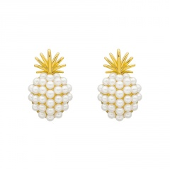 Korean Pearl Metal Sweet Stud Earring for Women's Fashion Pineapple