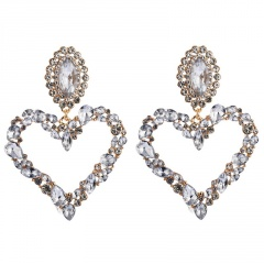 Heart Full Crystal Large Dangle Statement Earring Wholesale White