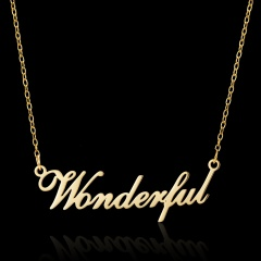 Golden English Alphabet Stainless Steel Necklace Wonderful