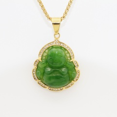Stainless Steel Diamond Agate Chalcedony Big Belly Maitreya Buddha Pendant (No Chain) Green-Gold