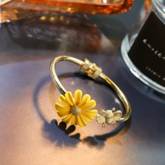 Daisy Paint Opening Adjustable Bracelet Bangle Yellow