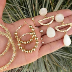 3 Pairs/Set Beach Series Golden Shell Bohemian Earrings ER20Y0582-1