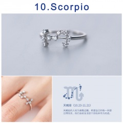 12 Constellation Silver Opening Adjustable Diamond Rings Scorpio