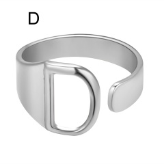 Silver Metal 26 Alphabet Opening Adjustable Statement Rings D