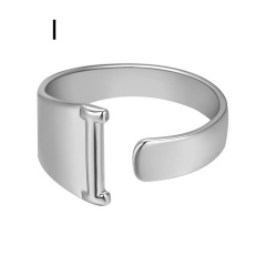 Silver Metal 26 Alphabet Opening Adjustable Statement Rings I