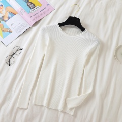 Solid Color Round Neck Long Sleeve Sweater White One size