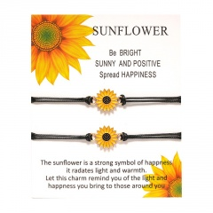 Sunflower 2 Braided Adjustable Couple Paper Card Bracelet Set A- Sun flower