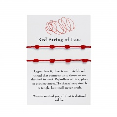 7 red knots lucky friendship knitting adjustable bracelet 2PC(With Card)