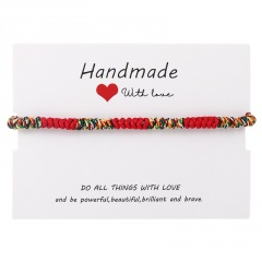 Handmade With Love Red String Diamond Knot Woven Adjustable Paper Card Bracelet Red