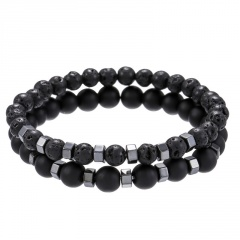2pcs/Set Sandstone Lava Stone Combination Beaded Men's Bracelet Set C