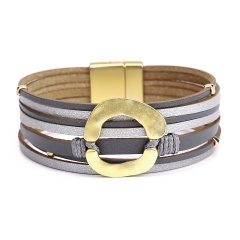 Black Multilayer Leather Bracelet for Women Jewelry Wholesale Gray