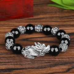 Imitation Natural Obsidian Thai Silver Six-Character Mantra Prayer Beads Lucky Pixiu Bracelets BR20Y0115-1