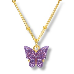 Fashin Butterfly Pendant Alloy Gold Chian Charm Necklace Wholesale Purple