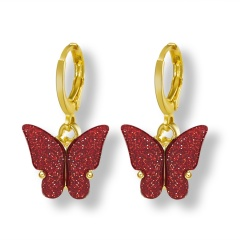 Butterfly Gold Hook Small Earrings Jewelry Wholesale Red