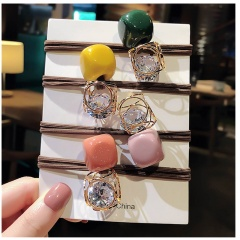 5pcs/Set Geometric Ball Rubber Band Simple Hair Tie Pearl Head Rope Combination A