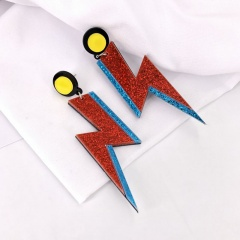 Acrylic Stitching Lightning Exaggerated Stud Earrings Red