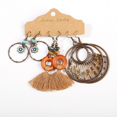 3 Pairs/Set Alloy Colorful Vintage Ethnic Earring Set Jewelry D