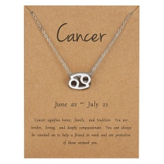 Silve Alloy Sinple 12 Constellations Pendant Chain Charm Necklace Cancer