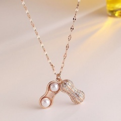 Fashion Gold Alloy Crystal Pendant Chain Charm Necklace Jewelry Gold-Peanut