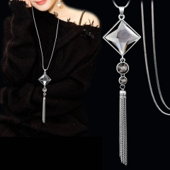Blue Square Crystal Silver Tassel Long Necklace Wholesale Square