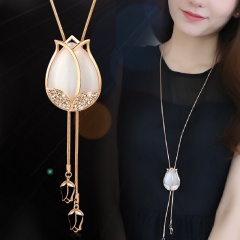 Tulip Opal Long Crystal Tassel Sweater Chain Necklace White