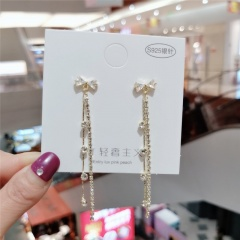Fashion Alloy with Crystal Gold Long Dangle Stud Earring for Women Bow