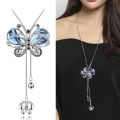 Wholesale Crystal Long Sweater Chain Rhinestone Butterfly Necklace Silver crystal
