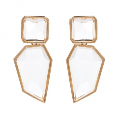 Multicolor Statement Stud Gold Plated Earrings Wholesale White