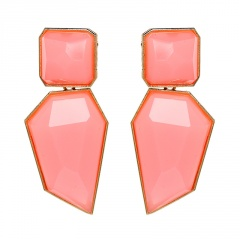 Multicolor Statement Stud Gold Plated Earrings Wholesale Pink