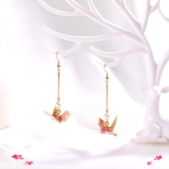 Ins Thousand Paper Crane Real Gold Plated Dangle Earrings Wholesale Pink