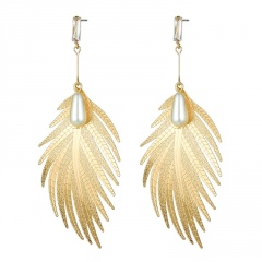 Feather Leaft Pealr Gold Silver Statement Earrings Jewelry Gold
