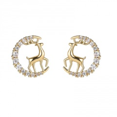 Fashion Silver Stone Elk Shape Stud Earrings Wholesale Elk Circle