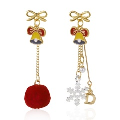 Christmas Bells Bowknot Snowflake Ball Long Stud Earrings Bell