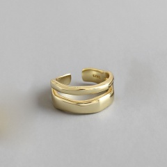 Silver Two-Layer Irregular Wave Open Adjustable Rings Gold