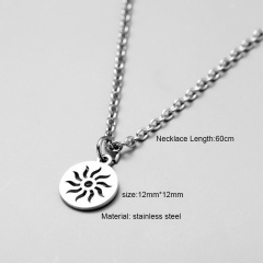 Silver Long Stainless Steel Pendant Necklace for Men Sun
