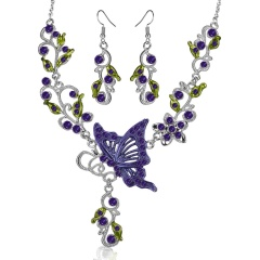 Fashionable Rhinestone With Alloy Necklace And Earring Jewelry Set Butterfly 6 Colors Big Jewelry Set Purple