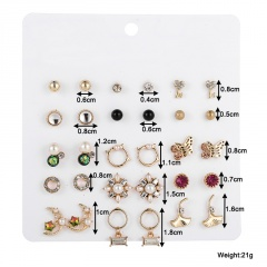 15 Pairs/set Korean Fashion Silver Small Stud Earring Set Wholesale A-15 pairs