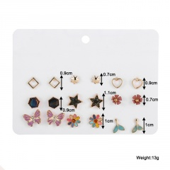 15 Pairs/set Korean Fashion Silver Small Stud Earring Set Wholesale B-9 pairs