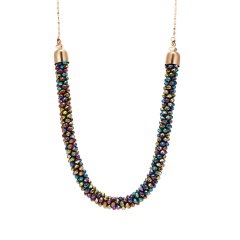 Crystal Crochet Hand Knitted Retro Exaggerated Sweater Chain Necklace Multi color